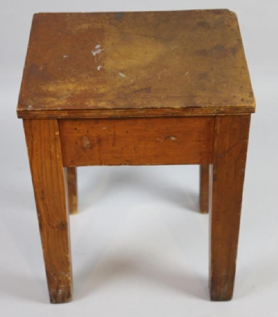 PRIMITIVE SOUTHERN YELLOW PINE ANTIQUE BENCH - 2