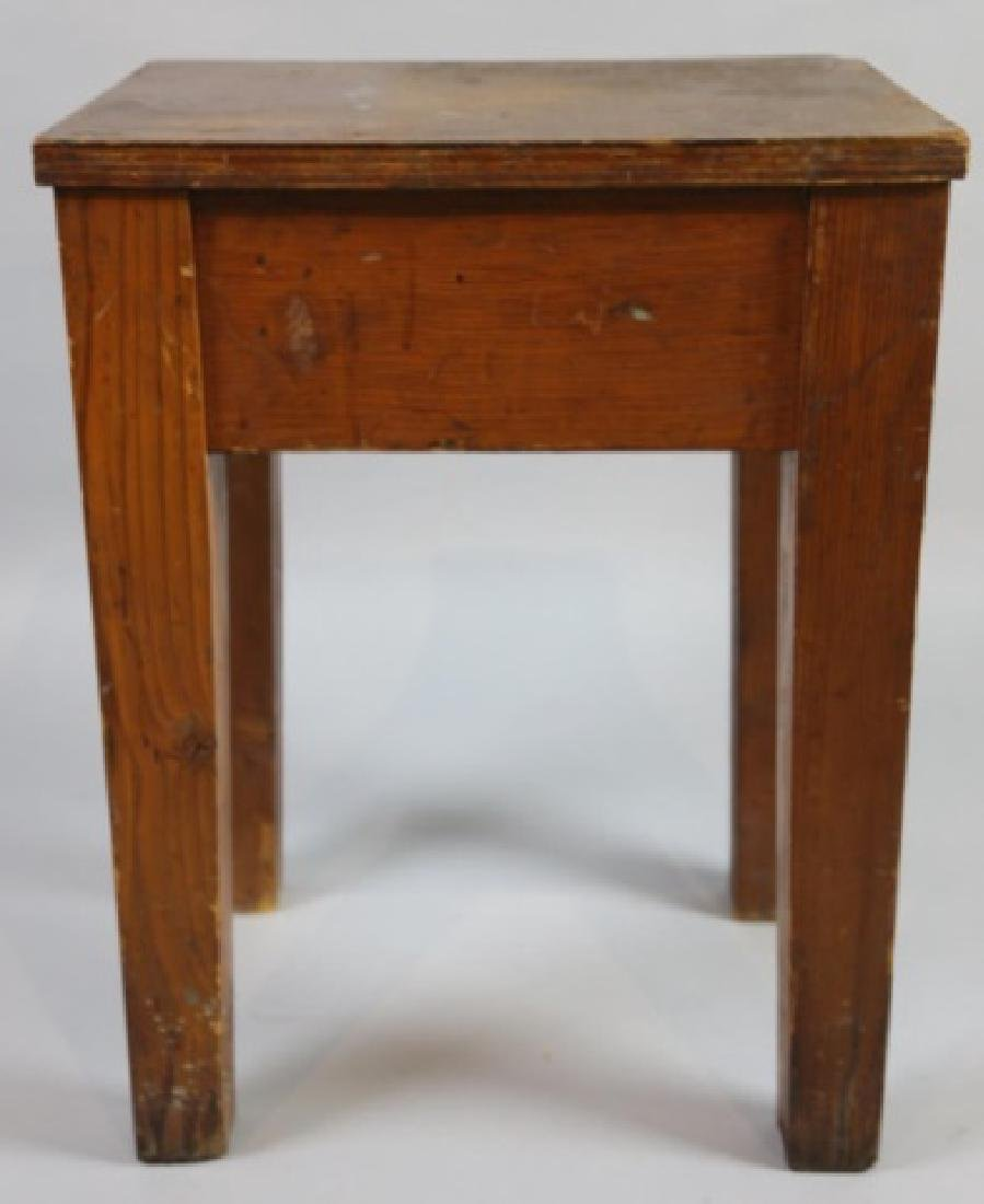 PRIMITIVE SOUTHERN YELLOW PINE ANTIQUE BENCH - 4