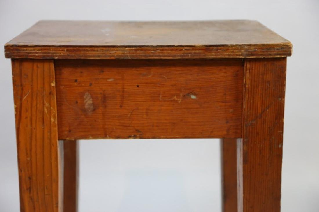 PRIMITIVE SOUTHERN YELLOW PINE ANTIQUE BENCH - 5
