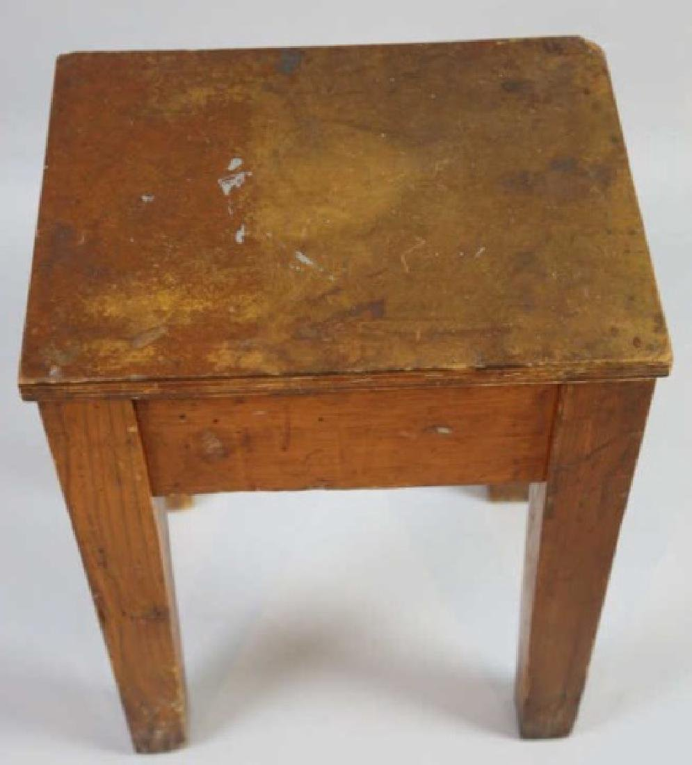 PRIMITIVE SOUTHERN YELLOW PINE ANTIQUE BENCH - 6