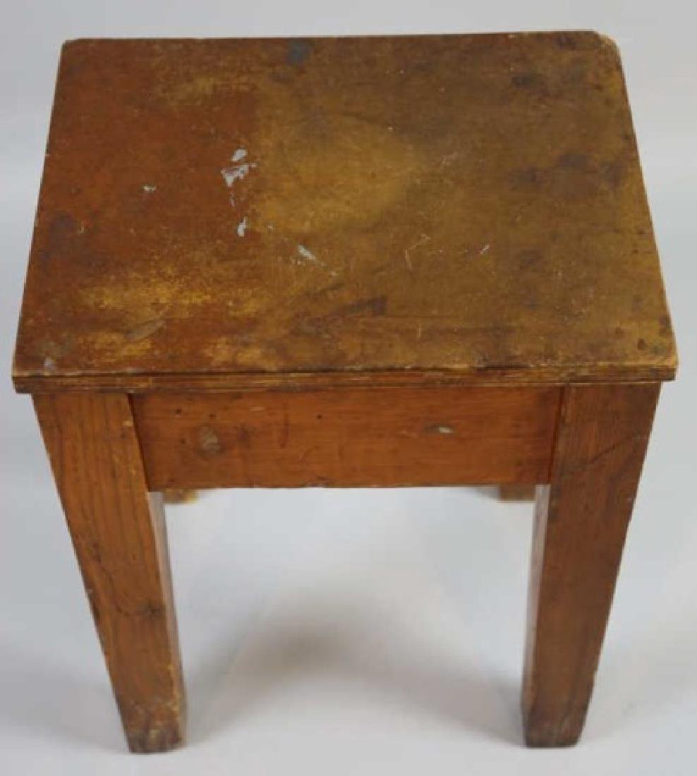 PRIMITIVE SOUTHERN YELLOW PINE ANTIQUE BENCH - 7