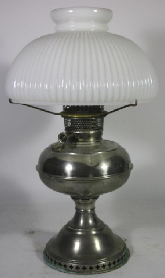 ANTIQUE BRASS OIL LAMP RAY BRADLEY HUBBARD 1905