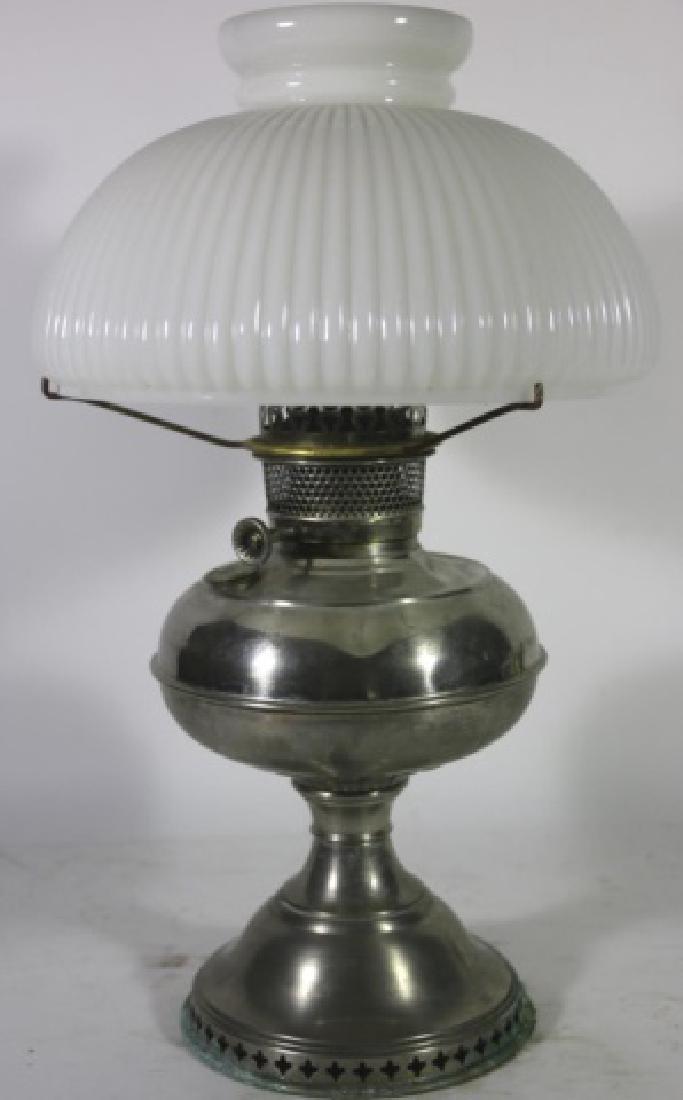 ANTIQUE BRASS OIL LAMP RAY BRADLEY HUBBARD 1905 - 2