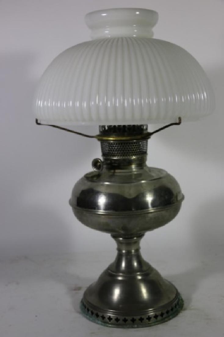 ANTIQUE BRASS OIL LAMP RAY BRADLEY HUBBARD 1905 - 6