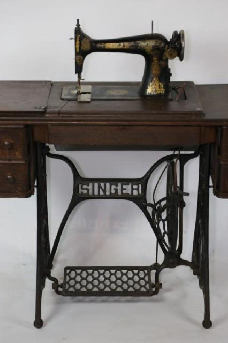SINGER ANTIQUE SEWING MACHINE & CABINET - 2