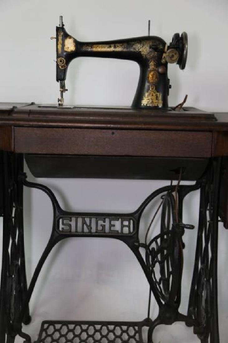 SINGER ANTIQUE SEWING MACHINE & CABINET - 6