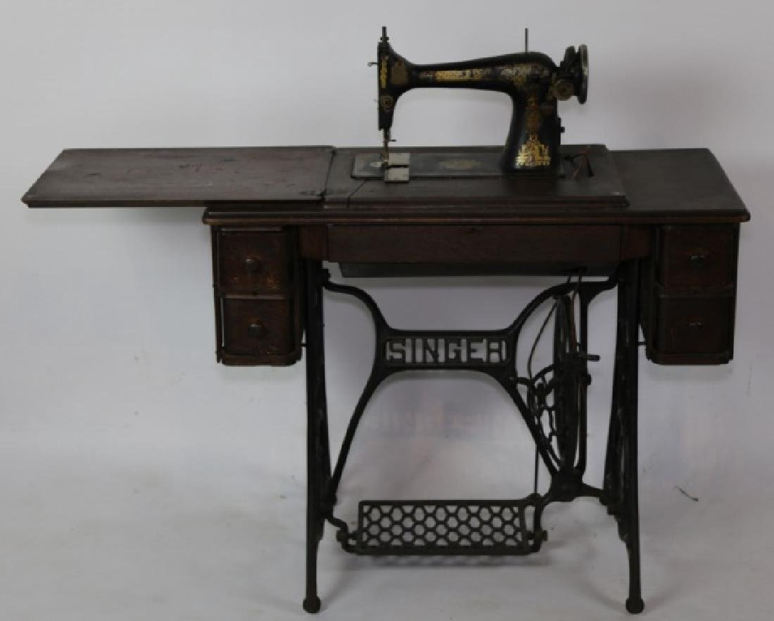 SINGER ANTIQUE SEWING MACHINE & CABINET - 9