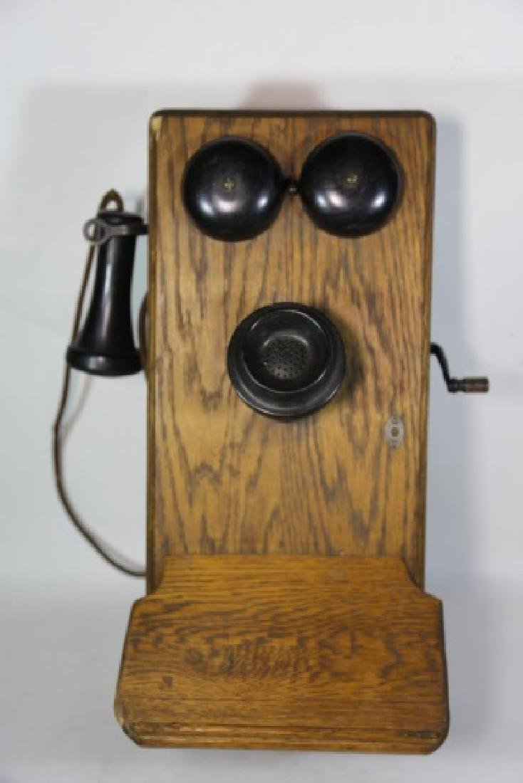 AMERICAN ANTIQUE OAK TELEPHONE - 2