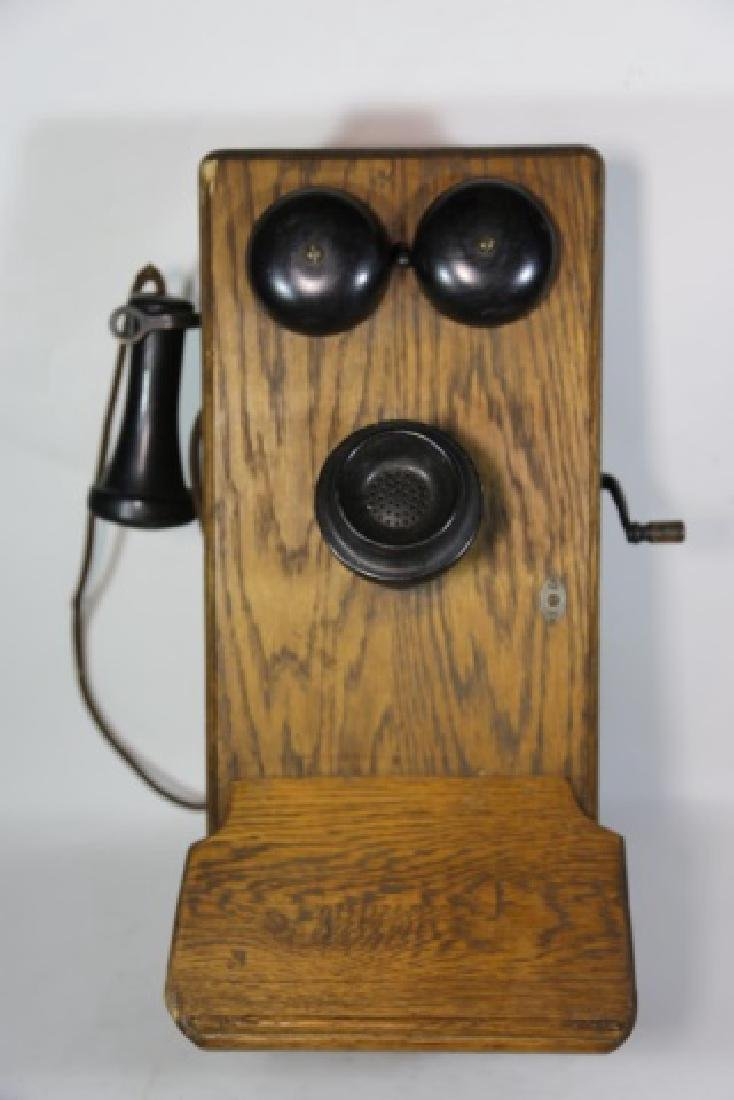 AMERICAN ANTIQUE OAK TELEPHONE - 3