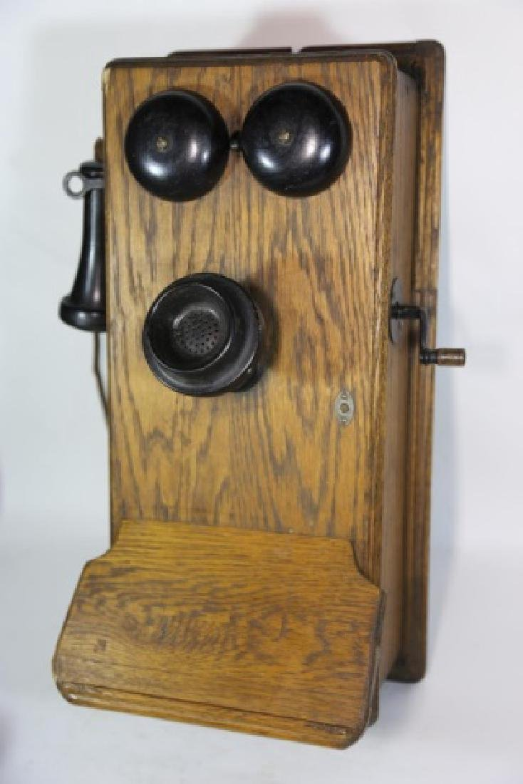 AMERICAN ANTIQUE OAK TELEPHONE - 5