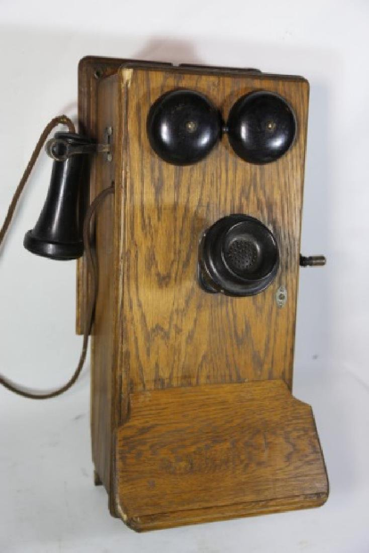 AMERICAN ANTIQUE OAK TELEPHONE - 6