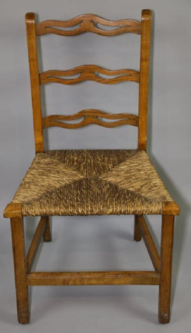 AMERICAN PRIMITIVE MAPLE RUSH SEAT SIDE CHAIR
