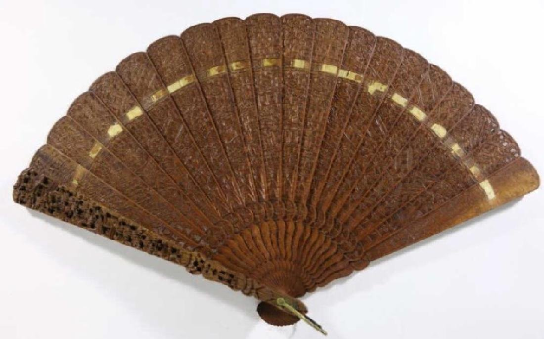 CHINESE ANTIQUE HAUNGHALI PIERCED CARVED FAN