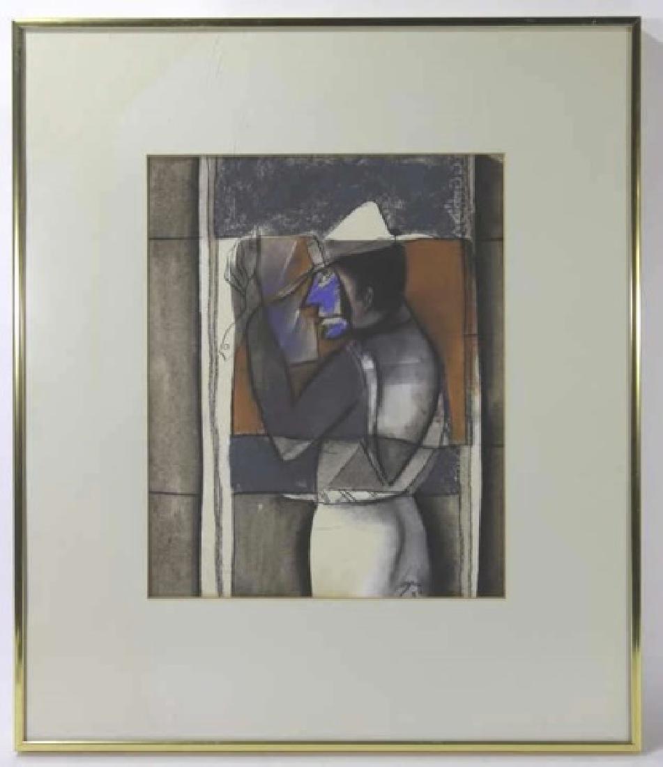 RUBEN LEYVA (B.1953-) PASTEL WITH WATERCOLOR & INK