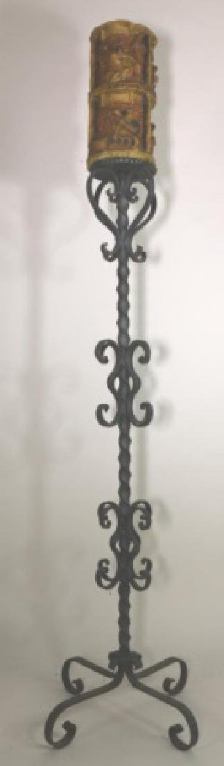 ANTIQUE WROUGHT IRON TORCHEIRE WITH FIGURAL CANDLE