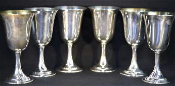 STERLING SILVER WINE GOBLET GROUP OF SIX