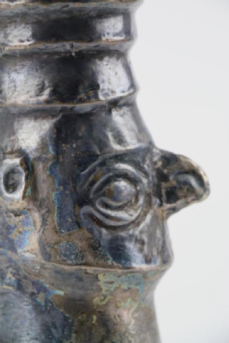 PRE-COLUMBIAN CHIMU SILVER FACE BEAKER - 8