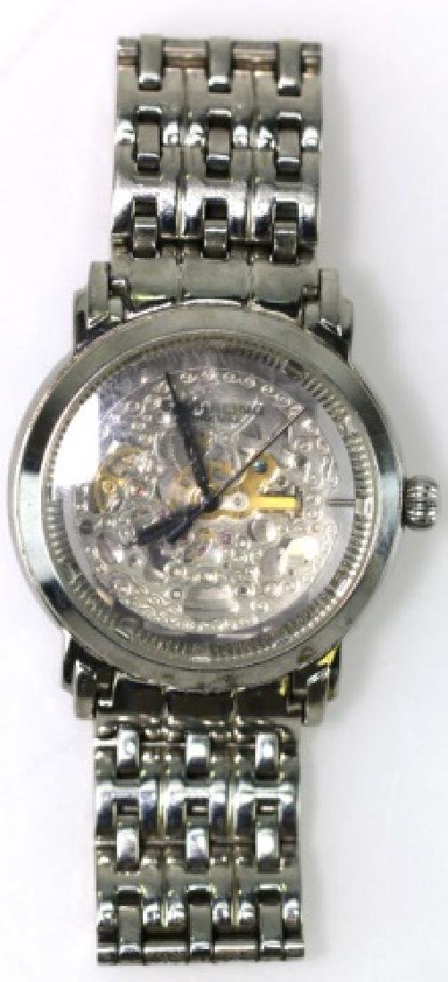 STUHRLING STAINLESS SKELETON MENS WATCH