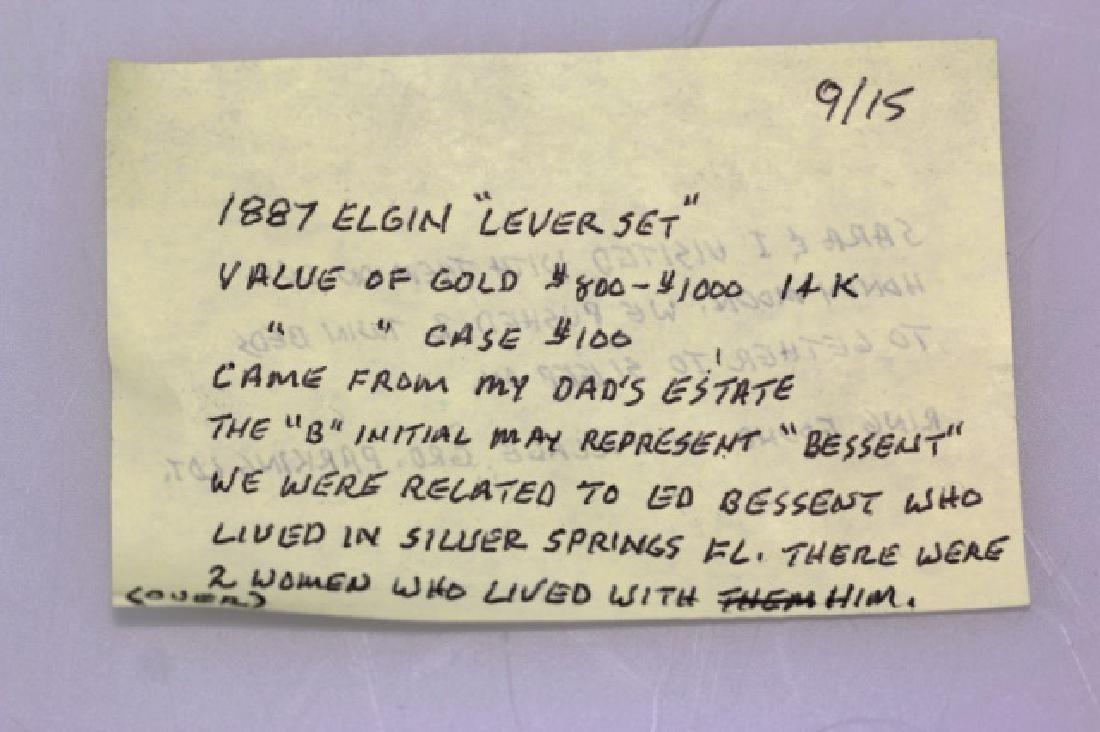 ELGIN 1887 14KYG  LEVER SET POCKET WATCH - 3