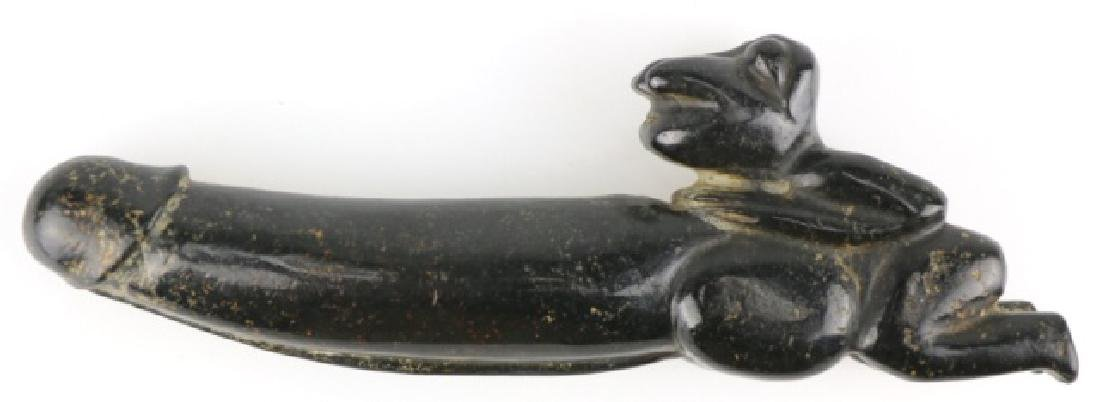 PRE-COLUMBIAN HAND CARVED JADE PHALLUS W/ FROG