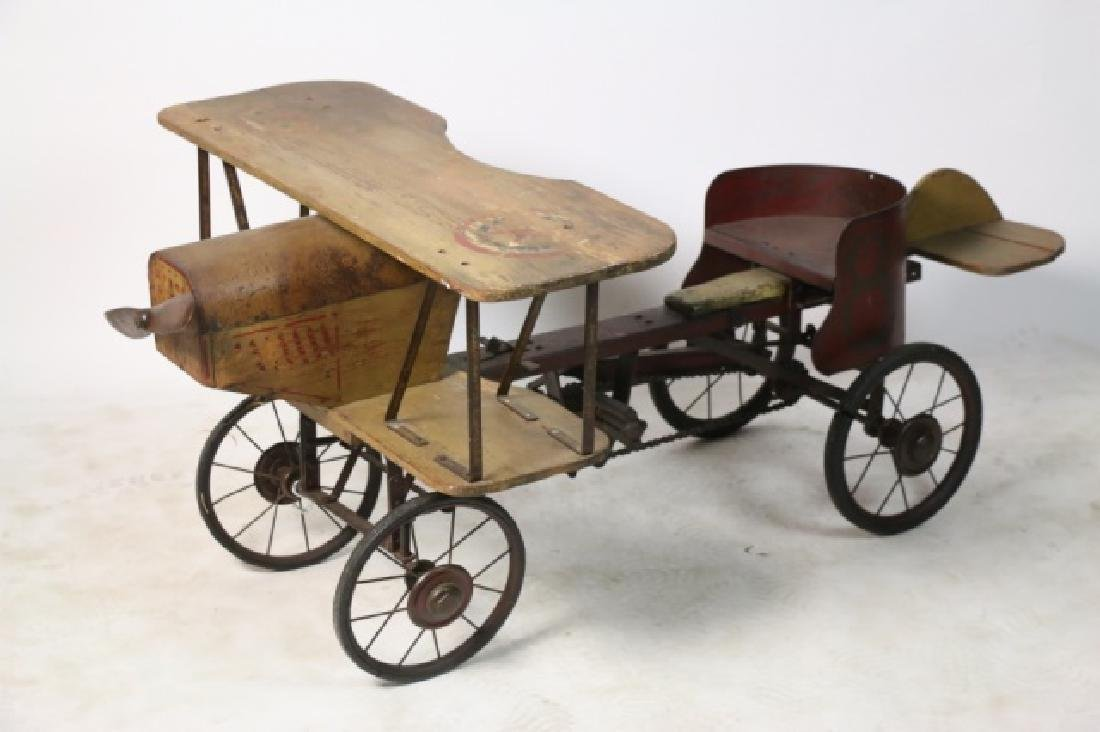BI-PLANE ANTIQUE WOOD & METAL PEDAL CAR - 10