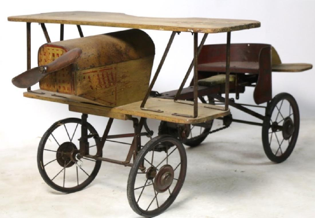 BI-PLANE ANTIQUE WOOD & METAL PEDAL CAR