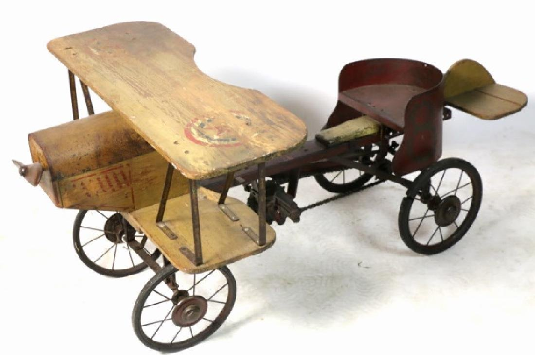 BI-PLANE ANTIQUE WOOD & METAL PEDAL CAR - 3