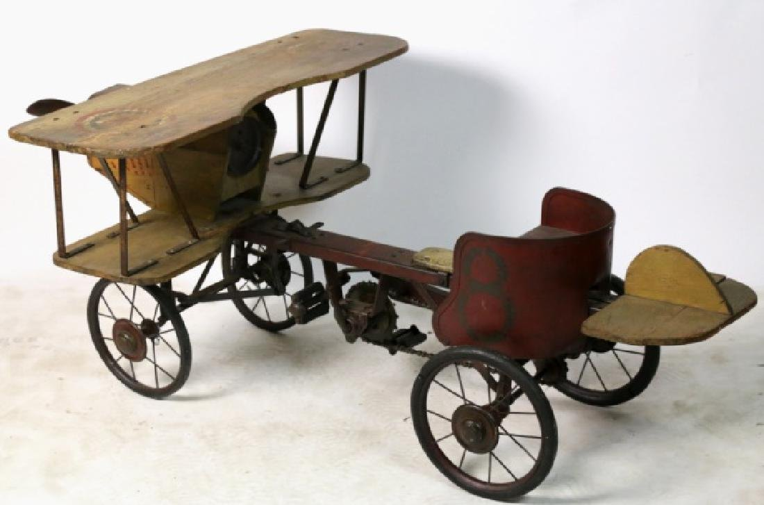 BI-PLANE ANTIQUE WOOD & METAL PEDAL CAR - 4