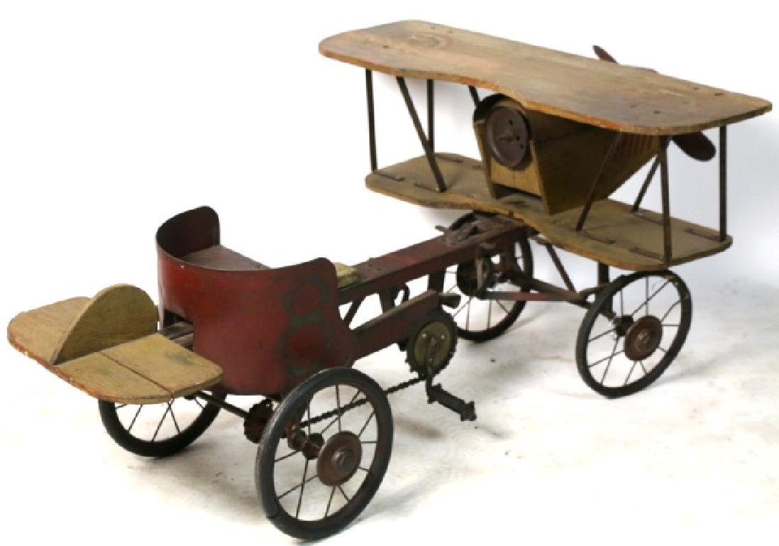 BI-PLANE ANTIQUE WOOD & METAL PEDAL CAR - 6