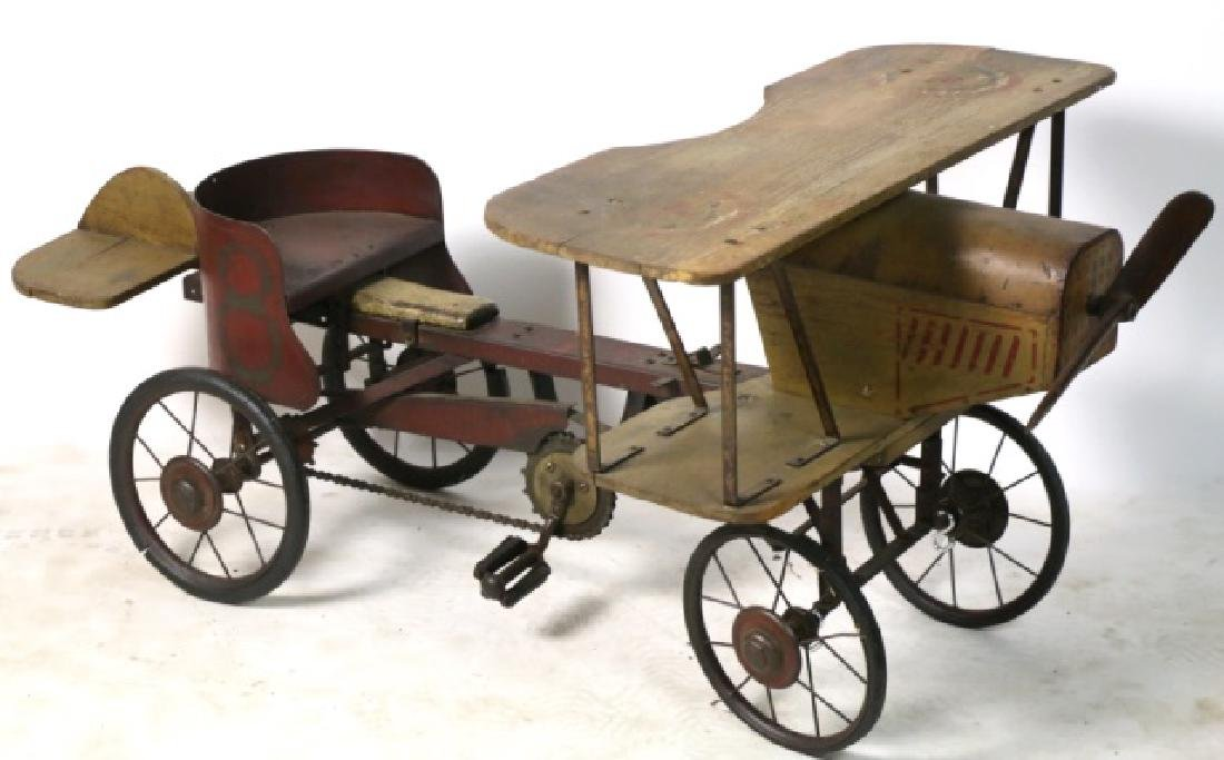 BI-PLANE ANTIQUE WOOD & METAL PEDAL CAR - 7