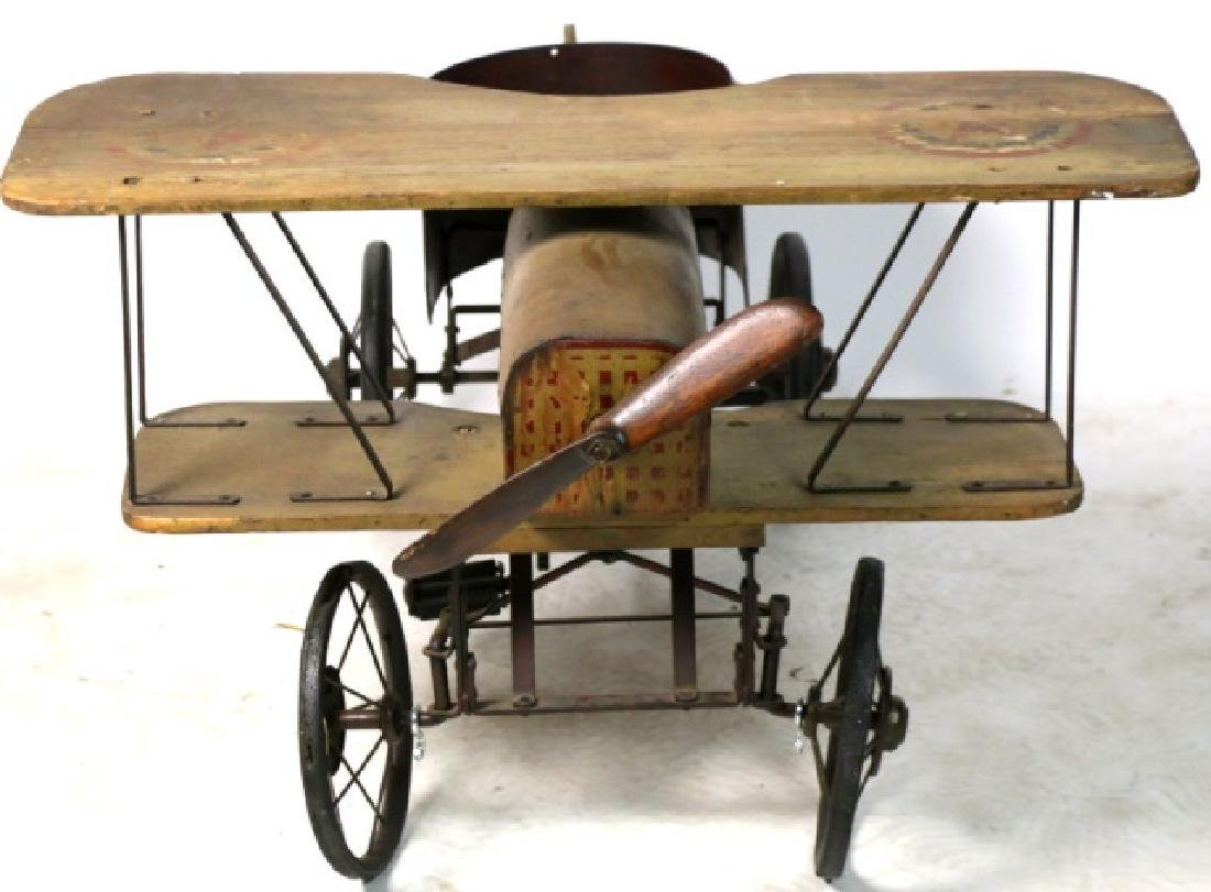 BI-PLANE ANTIQUE WOOD & METAL PEDAL CAR - 8