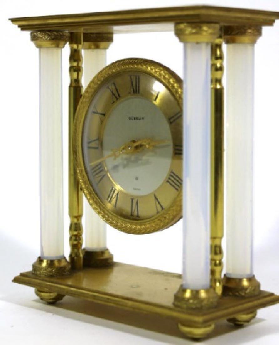 GUBELIN VINTAGE BRONZE-OPALINE GLASS COLUMN CLOCK