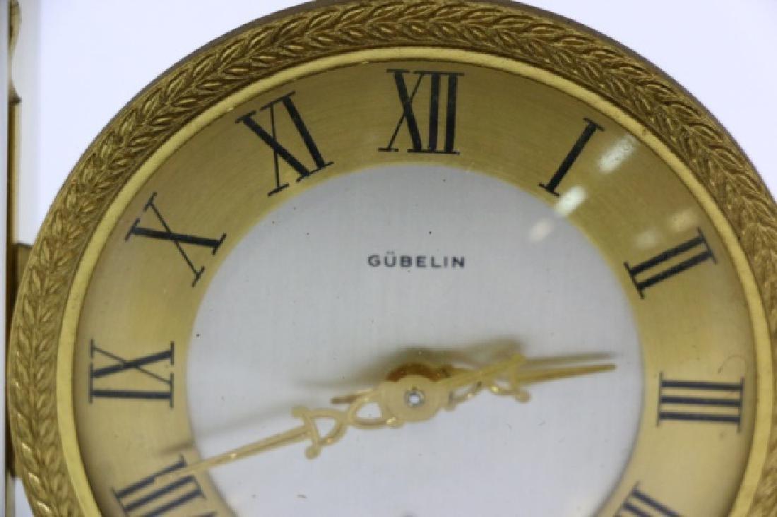 GUBELIN VINTAGE BRONZE-OPALINE GLASS COLUMN CLOCK - 2