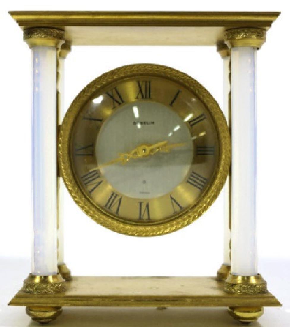 GUBELIN VINTAGE BRONZE-OPALINE GLASS COLUMN CLOCK - 3