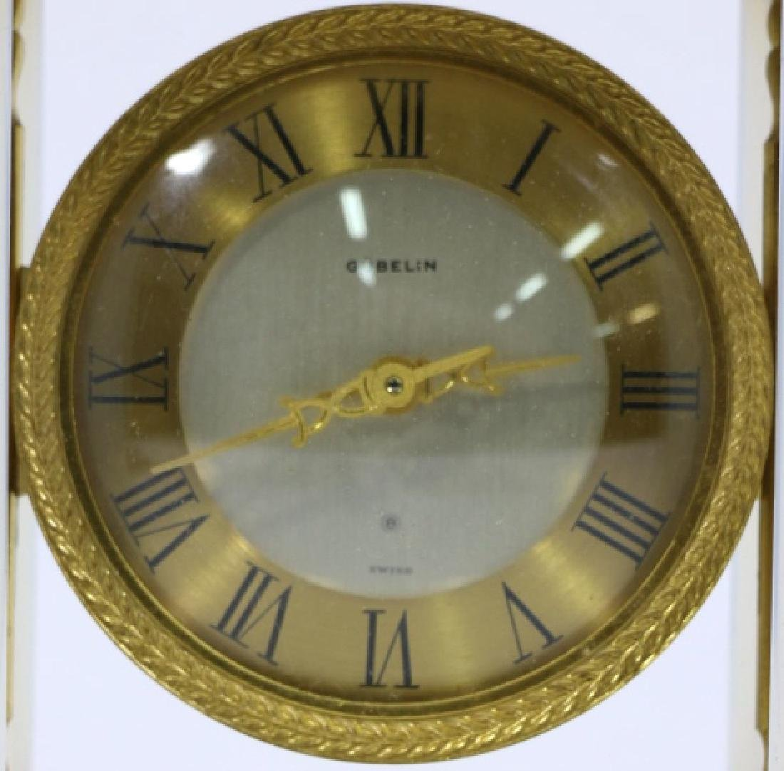 GUBELIN VINTAGE BRONZE-OPALINE GLASS COLUMN CLOCK - 4