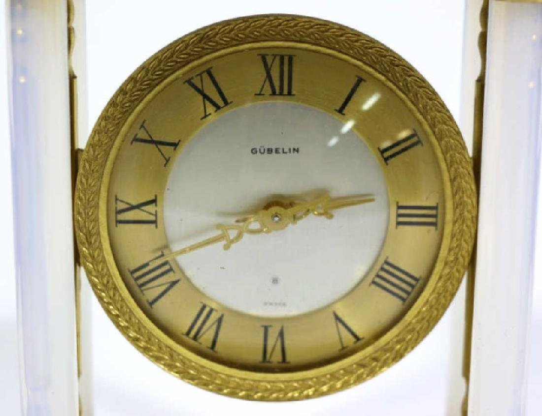 GUBELIN VINTAGE BRONZE-OPALINE GLASS COLUMN CLOCK - 5