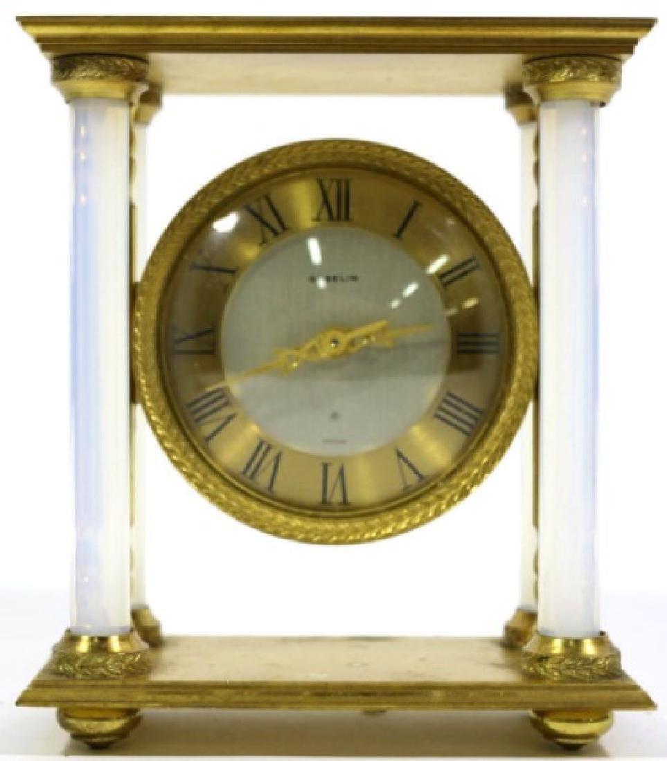 GUBELIN VINTAGE BRONZE-OPALINE GLASS COLUMN CLOCK - 6