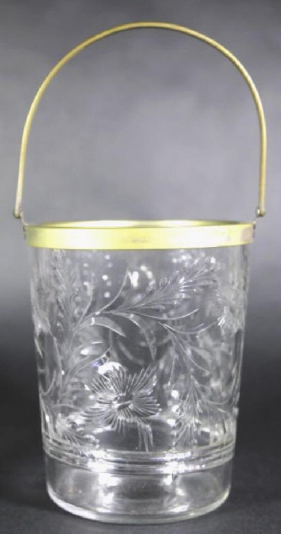 HAWKES ANTIQUE HAND ETCHED SWING HANDLE ICE BUCKET