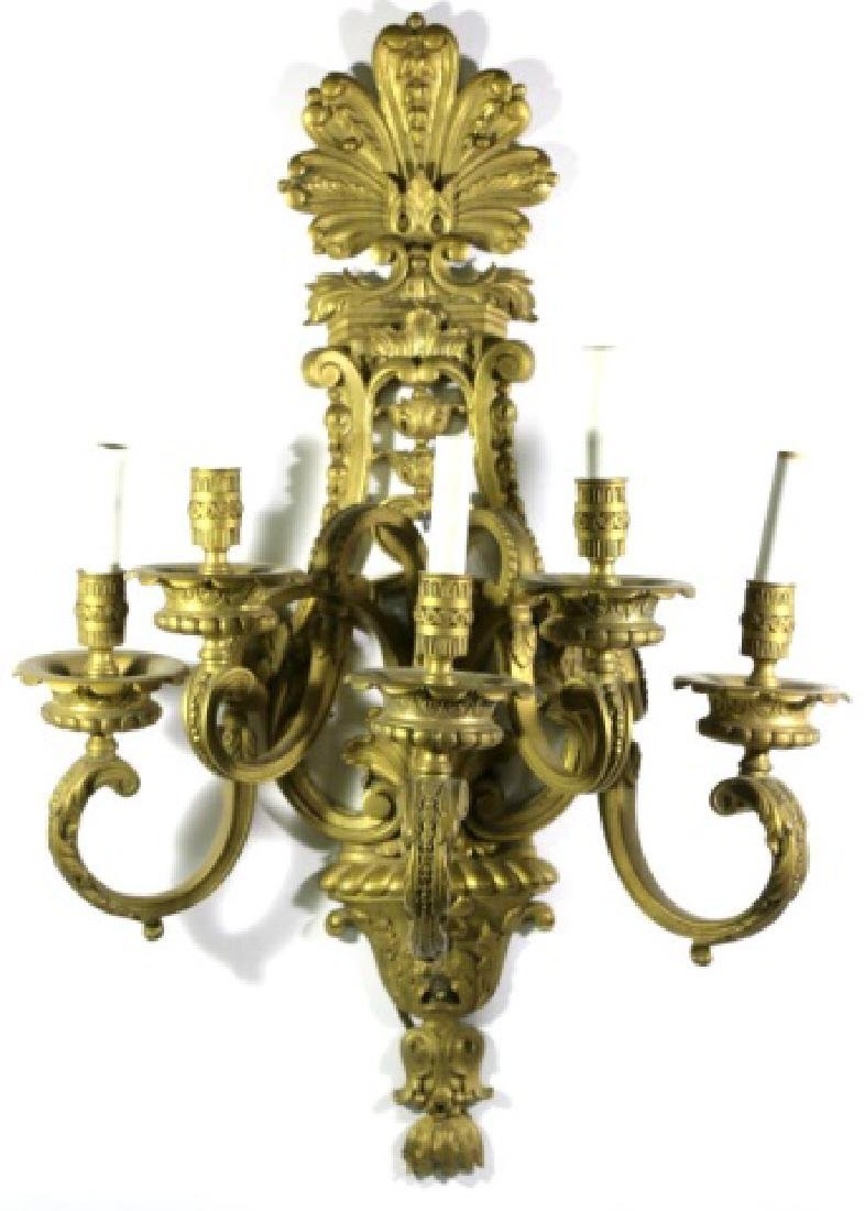 FRENCH ANTIQUE DORE' BRONZE 5 LIGHT SCONCE