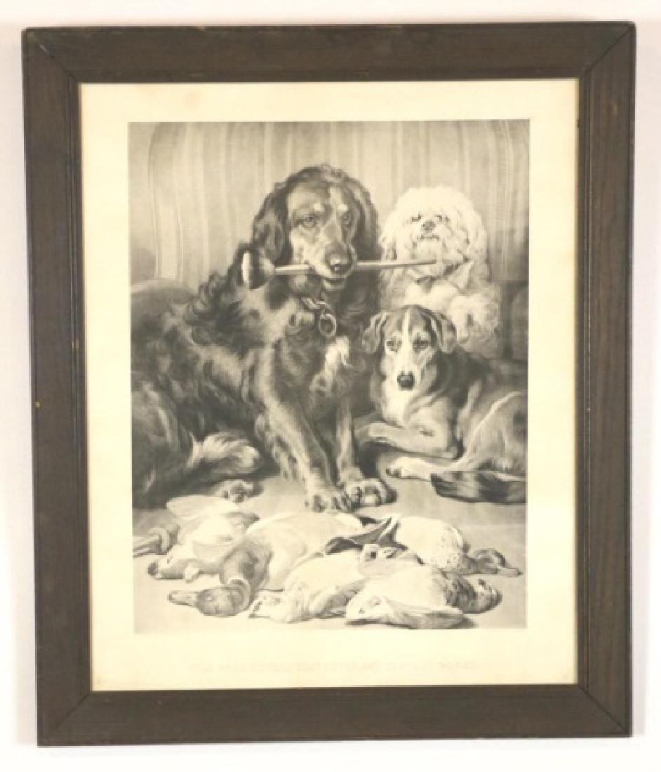 19TH C. STEEL ENGRAVING OF DOGS & GAME