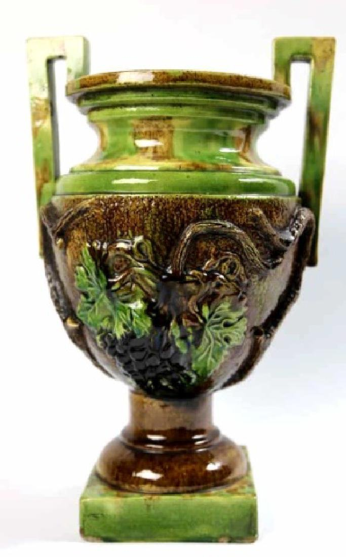 "18"" FRENCH ANTIQUE TWIN HANDLE MAJOLICA URN"