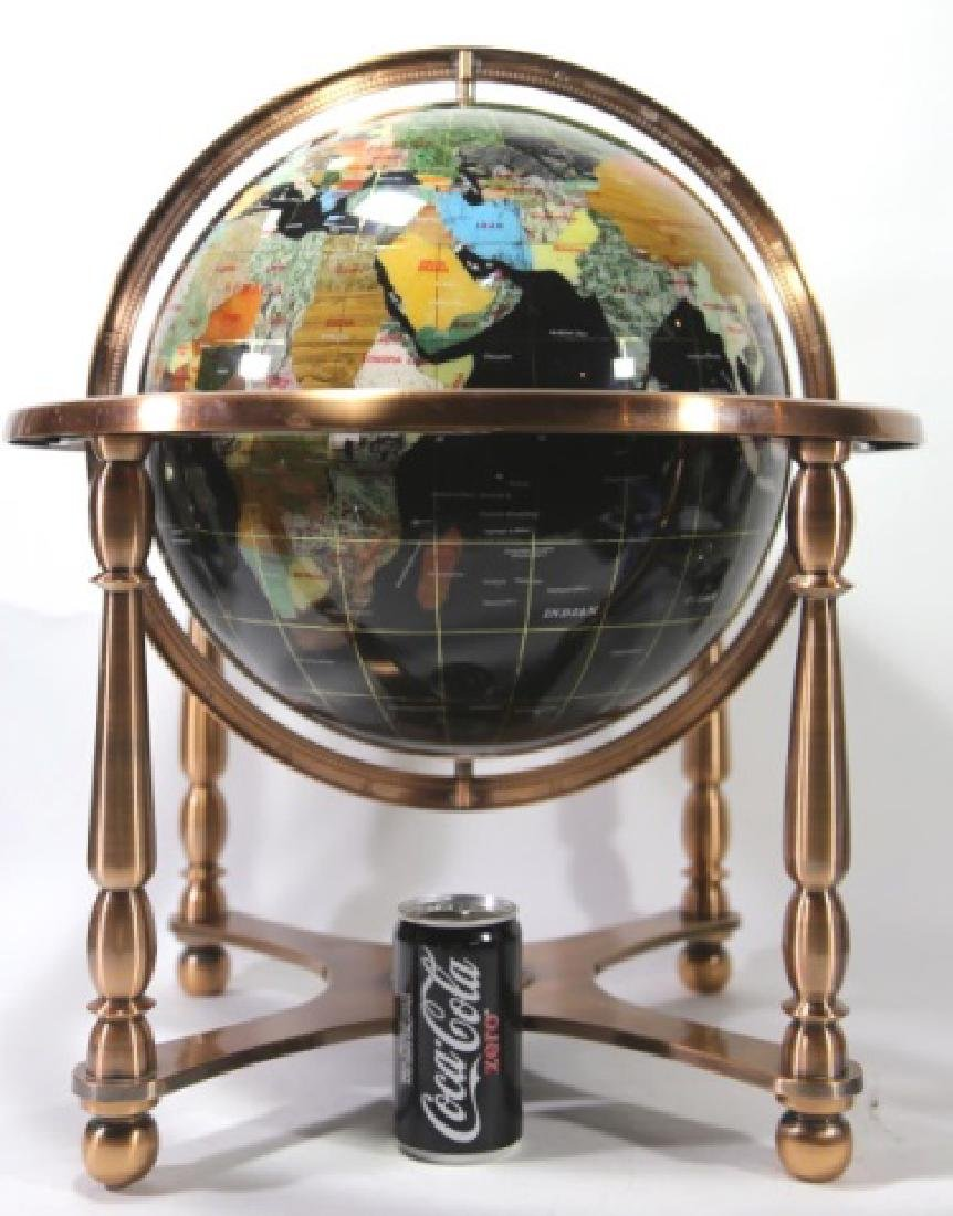 SEMI-PRECIOUS HARDSTONE WORLD GLOBE