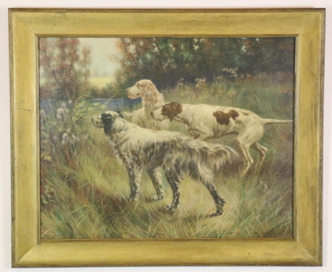 ANTIQUE HAND COLORED LITHOGRAPH OF SPANIELS