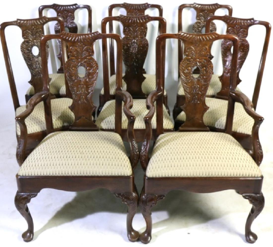HENREDON MAHOGANY HAND CARVED CHAIR SET OF EIGHT