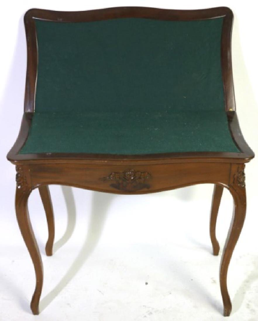 FRENCH ANTIQUE WALNUT FLIP-TOP GAME TABLE