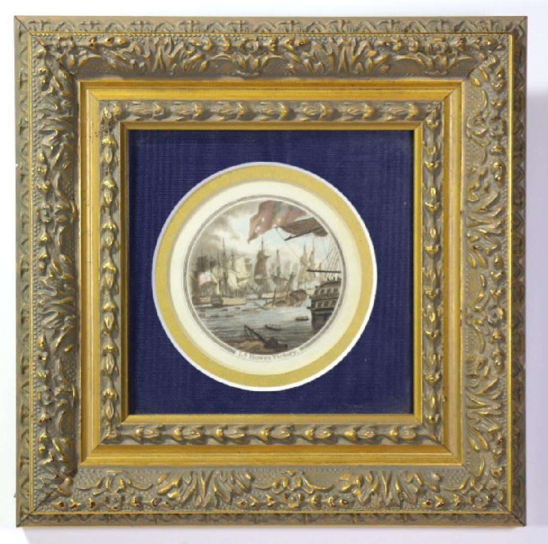 """""""HOWES VICTORY"""" COLORED MINIATURE ENGRAVING"""