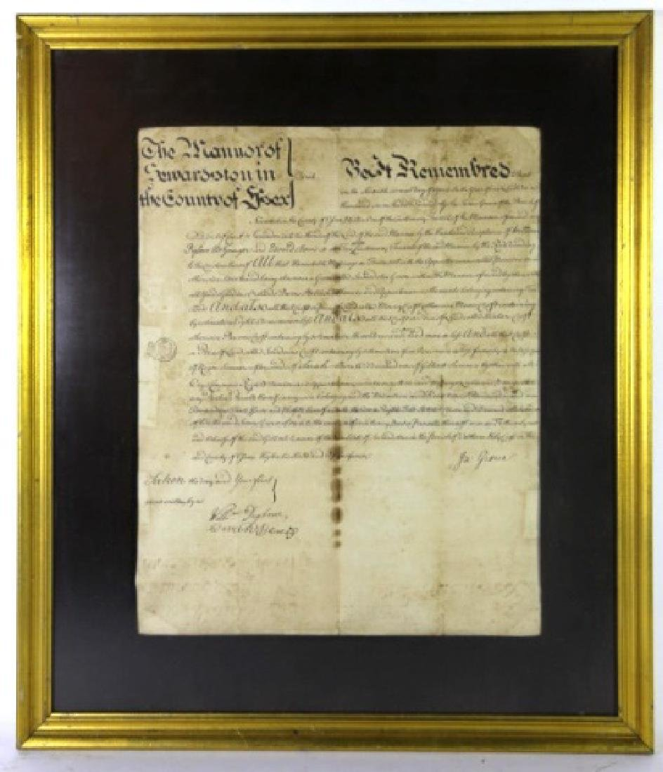 1746 DOCUMENT WITH IMPRESSED & STAMPED SEALS
