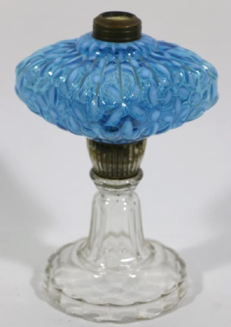 ANTIQUE BLUE OPALESCENT TO CLEAR OIL LAMP - 5