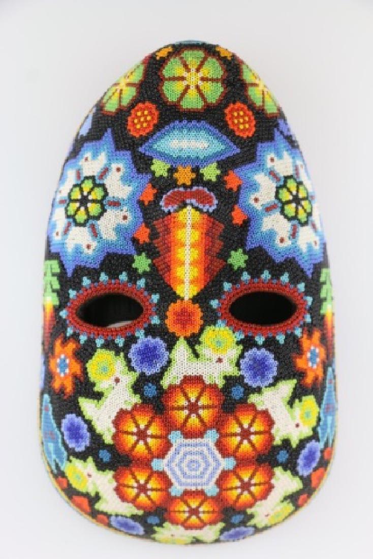 PEYOTE FLOWER-MEXICO HUICHOL BEAD MASK ART - 10