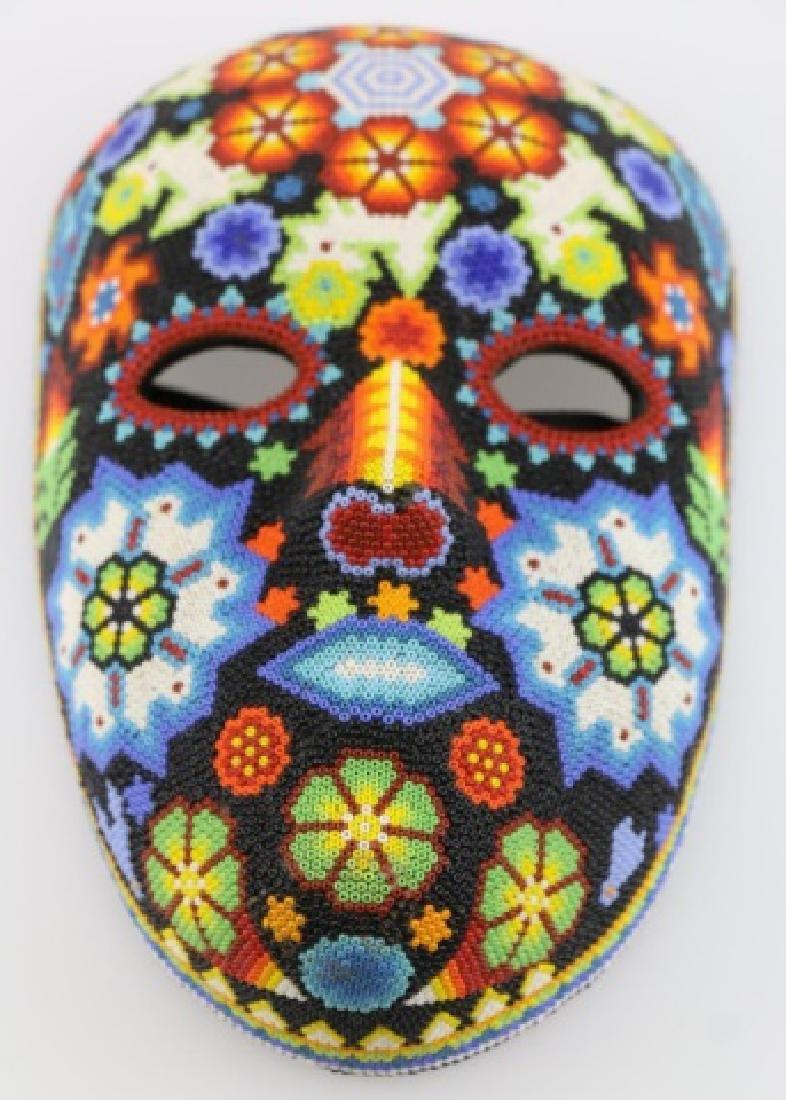 PEYOTE FLOWER-MEXICO HUICHOL BEAD MASK ART